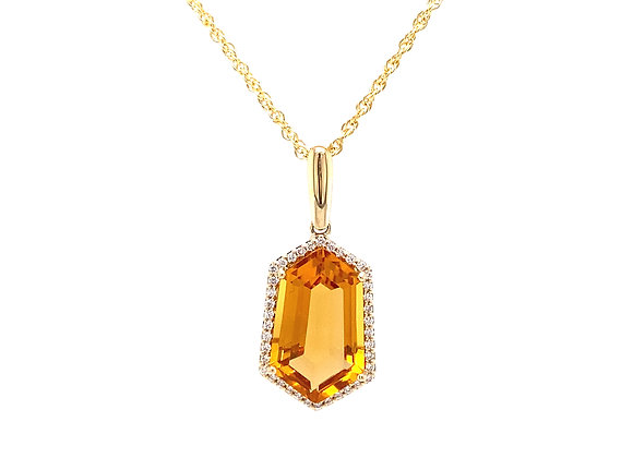 14KT YELLOW GOLD CITRINE AND DIAMOND PENDANT