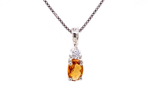 STERLING SILVER CREATED CITRINE AND CZ PENDANT