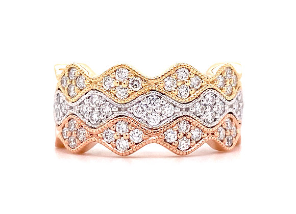 14KT TRI-TONE GOLD DIAMOND RING