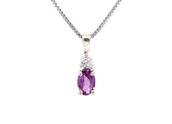 STERLING SILVER SIMULATED ALEXANDRITE AND CZ PENDANT