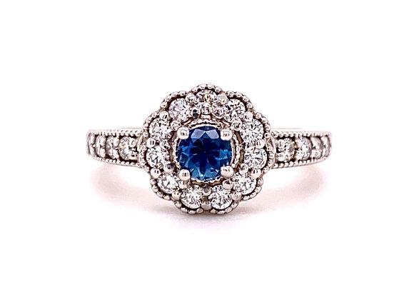 14KT WHITE GOLD YOGO SAPPHIRE AND DIAMOND RING