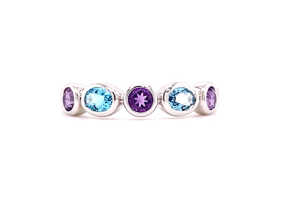 14KT WHITE GOLD BLUE TOPAZ AND AMETHYST RING