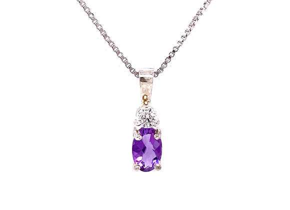 STERLING SILVER CREATED AMETHYST AND CZ PENDANT