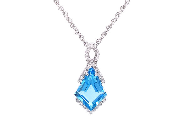 14KT WHITE GOLD SWISS BLUE TOPAZ AND DIAMOND PENDANT