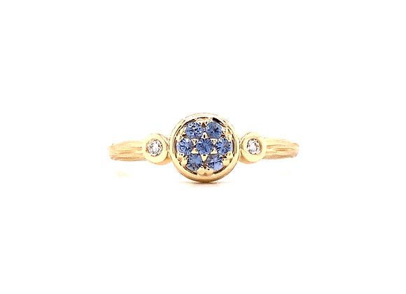 14KT YELLOW GOLD YOGO SAPPHIRE AND DIAMOND PENDANT