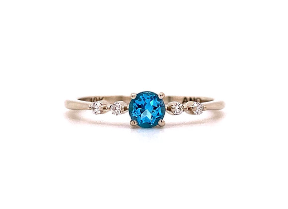 10KT WHITE GOLD BLUE TOPAZ AND DIAMOND RING