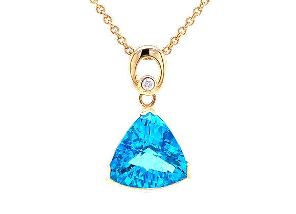 14KT YELLOW GOLD BLUE TOPAZ AND DIAMOND PENDANT