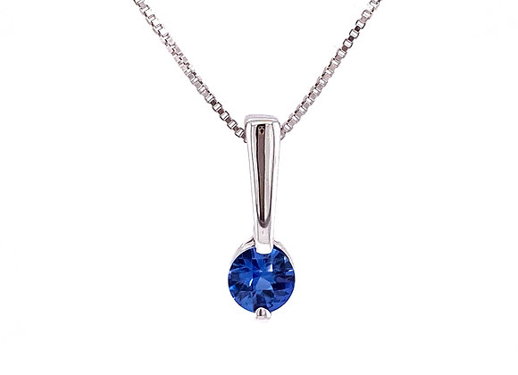 STERLING SILVER SIMULATED SAPPHIRE PENDANT