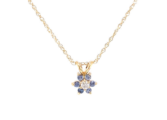 14KT YELLOW GOLD YOGO SAPPHIRE AND DIAMOND PENDANT