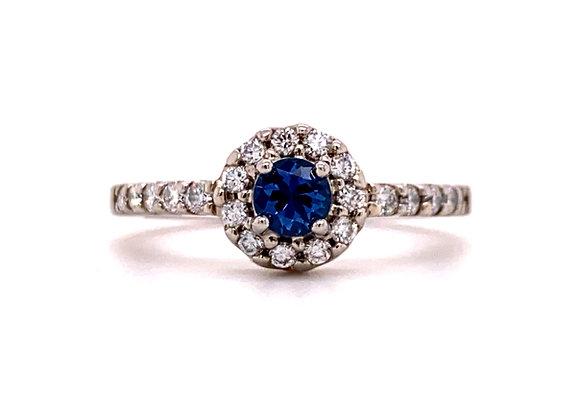 PALLADIUM YOGO SAPPHIRE AND DIAMOND RING