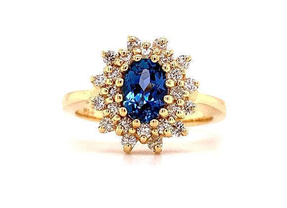 14KT YELLOW GOLD YOGO SAPPHIRE AND DIAMOND RING