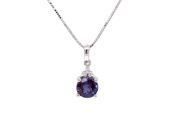 14KT WHITE GOLD LAB CREATED ALEXANDRITE AND DIAMOND PENDANT