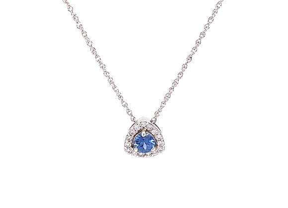 14KT WHITE GOLD YOGO SAPPHIRE AND DIAMOND PENDANT