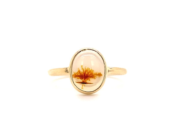 14KT YELLOW GOLD MONTANA AGATE RING