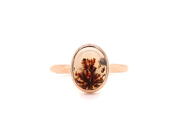 14KT ROSE GOLD MONTANA AGATE RING