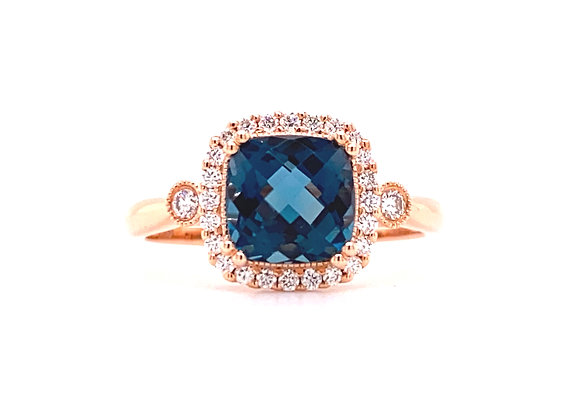 14KT ROSE GOLD BLUE TOPAZ AND DIAMOND RING