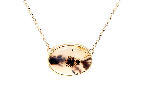 14KT YELLOW GOLD MONTANA AGATE NECKLACE