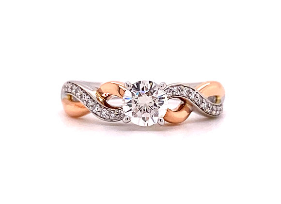14KT TWO-TONE DIAMOND ENGAGEMENT RING
