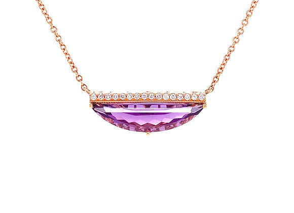 14KT ROSE GOLD AMETHYST AND DIAMOND NECKLACE