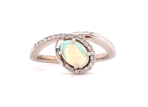 WHITE GOLD OPAL AND DIAMOND RING