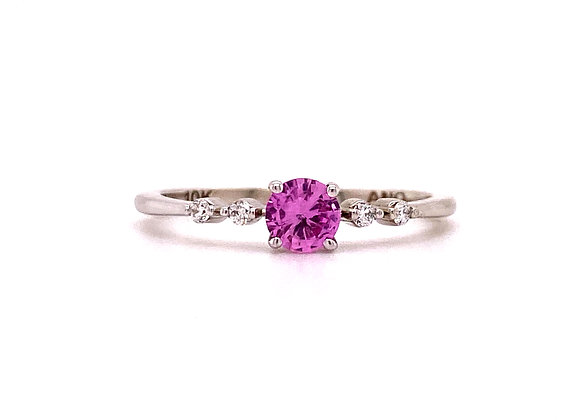 10KT WHITE GOLD LAB PINK SAPPHIRE AND DIAMOND RING