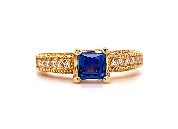 14KT YELLOW GOLD YOGO SAPPHIRE AND DIAMOND RING