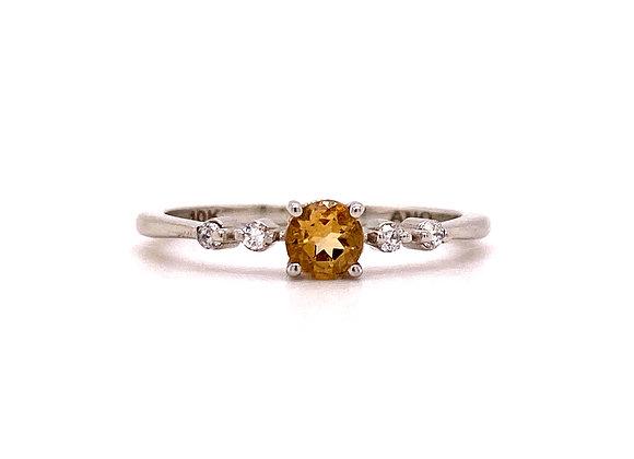 10KT WHITE GOLD CITRINE AND DIAMOND RING