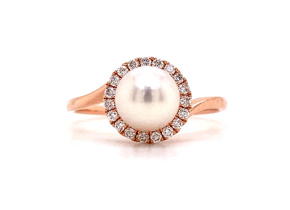 14KT ROSE GOLD PEARL AND DIAMOND RING