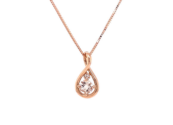 14KT ROSE GOLD MORGANITE AND DIAMOND PENDANT