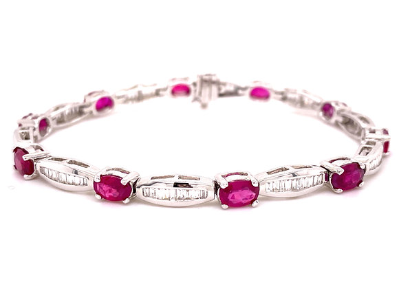 14KT WHITE GOLD RUBY AND DIAMOND BRACELET