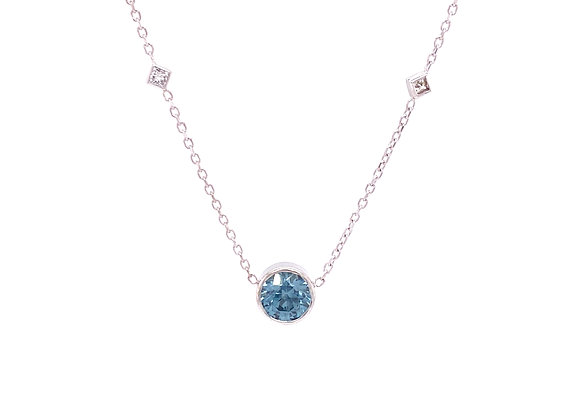 14KT WHITE GOLD MONTANA SAPPHIRE AND DIAMOND NECKLACE