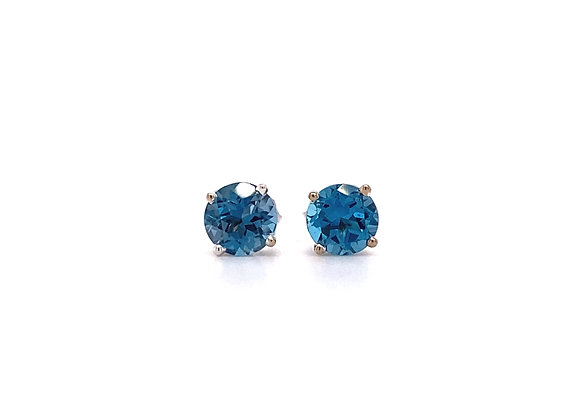 14KT WHITE GOLD LONDON BLUE TOPAZ EARRINGS