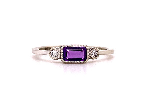 10KT WHITE GOLD AMETHYST AND DIAMOND RING