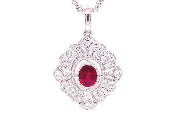 14KT WHITE GOLD RUBY AND DIAMOND PENDANT