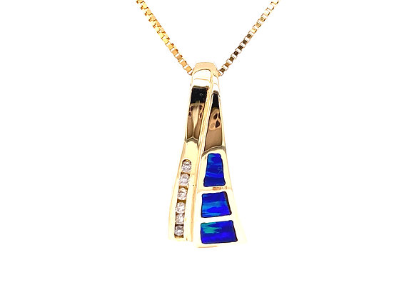 14KT YELLOW GOLD OPAL AND DIAMOND PENDANT