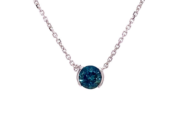 14KT WHITE GOLD MONTANA SAPPHIRE NECKLACE