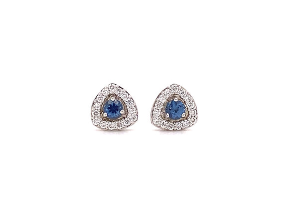 14KT WHITE GOLD YOGO SAPPHIRE AND DIAMOND EARRINGS