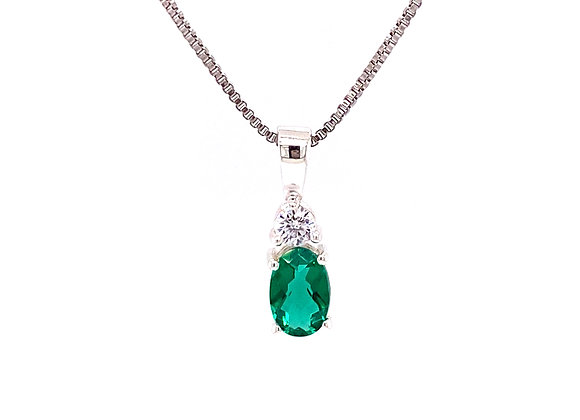 STERLING SILVER SIMULATED EMERALD AND CZ PENDANT