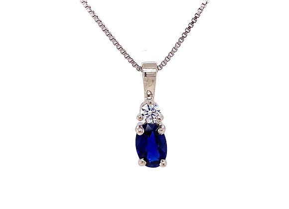 STERLING SILVER SIMULATED SAPPHIRE AND CZ PENDANT