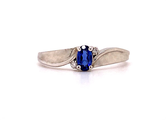 10KT WHITE GOLD LAB SAPPHIRE AND DIAMOND RING