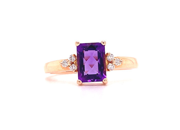 14KT ROSE GOLD AMETHYST AND DIAMOND RING