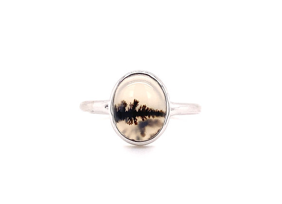 14KT WHITE GOLD MONTANA AGATE RING