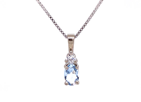 STERLING SILVER CREATED AQUAMARINE AND CZ PENDANT