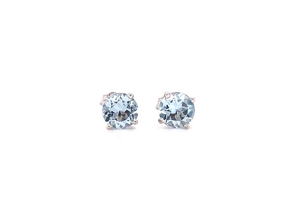 14KT WHITE GOLD SWISS BLUE TOPAZ EARRINGS