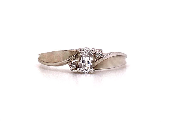10KT WHITE GOLD CZ AND DIAMOND RING