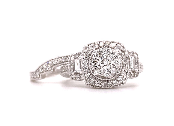 14KT WHITE GOLD DIAMOND ENGAGEMENT RING AND MATCHING BAND