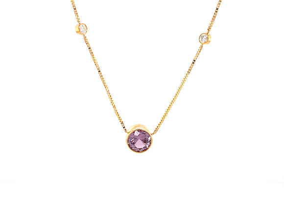 14KT YELLOW GOLD MONTANA SAPPHIRE AND DIAMOND NECKLACE