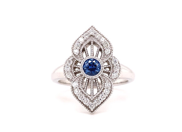 14KT WHITE GOLD YOGO SAPPHIRE AND DIAMOND RING