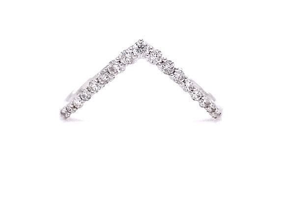 10KT WHITE GOLD DIAMOND V RING