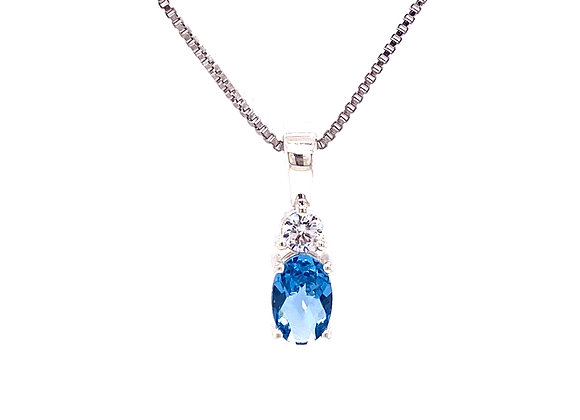 STERLING SILVER CREATED SPINEL AND CZ PENDANT